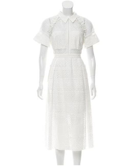 75531d671c4a1 Self-Portrait - White Eyelet Accented Midi Dress W/ Tags - Lyst ...