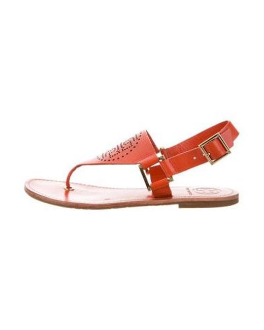 5a55a0845aa1 Tory Burch - Natural Leather Ankle Strap Sandals Orange - Lyst ...