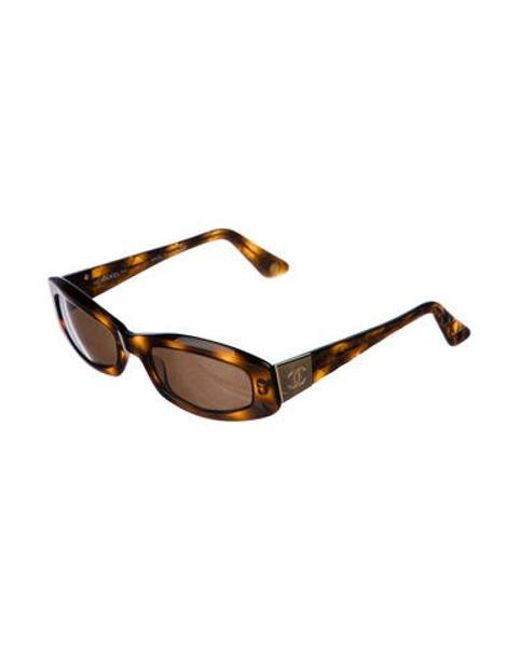 4f1726e3ea4 ... Chanel - Metallic Quilted Cc Sunglasses Brown - Lyst ...