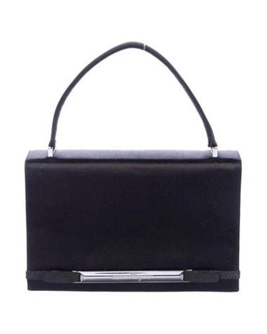 99a35c32e08 Ferragamo - Metallic Grosgrain-trimmed Satin Evening Bag Black - Lyst ...