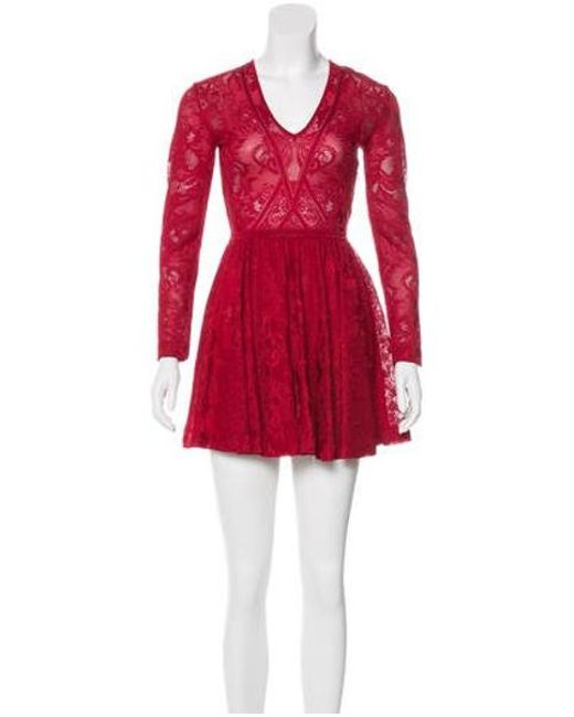 Zuhair Murad Red Mini Lace Dress Lyst