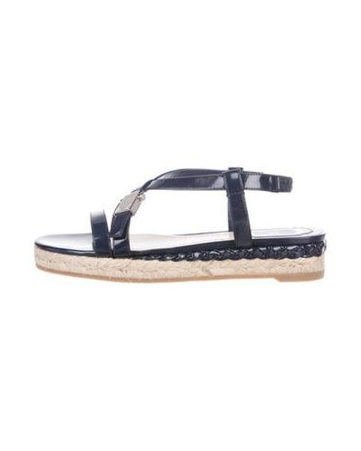 0bf6fb83131 Dior - Blue Patent Espadrille Sandals - Lyst ...
