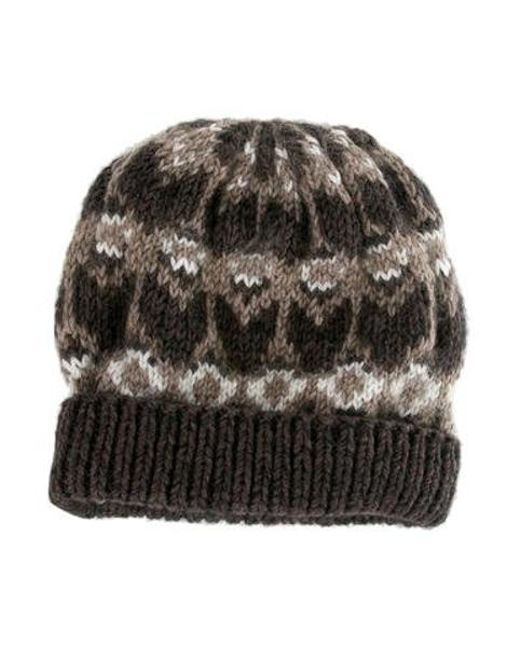 7554af38a0b Men's Natural Merino Wool Patterned Beanie Brown