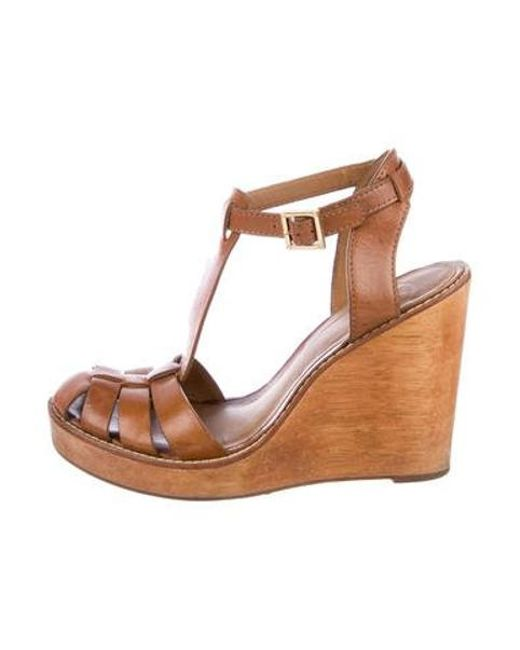 2d64e770498 Tory Burch - Natural Leather T-strap Wedges Tan - Lyst ...