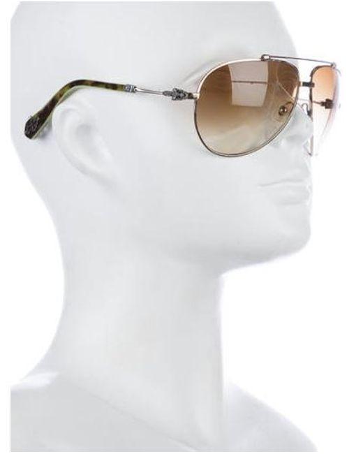 ed45b17447e ... Chrome Hearts - Metallic Stoned Aviator Sunglasses Gold - Lyst