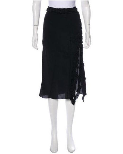 Rochas - Black Silk Midi Skirt - Lyst