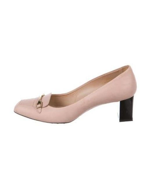 5c1d823cb72 Tod s - Metallic Square-toe Leather Pumps Pink - Lyst ...