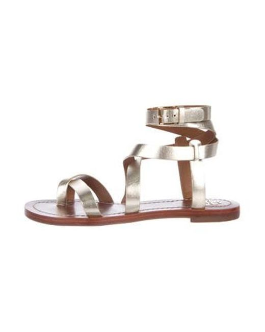 f9b8fd5b27477e Tory Burch - Metallic Leather Ankle Strap Sandals Silver - Lyst ...