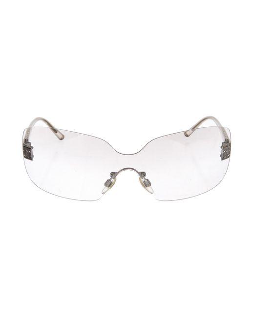 e00e85f8f15 Chanel - Metallic Cc Shield Sunglasses Clear - Lyst ...