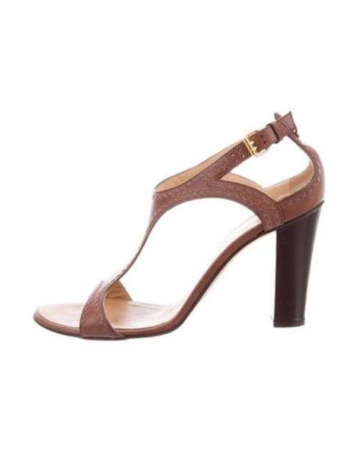 e9fab01c4d3 Giuseppe Zanotti - Brown High-heel T-strap Sandals - Lyst ...