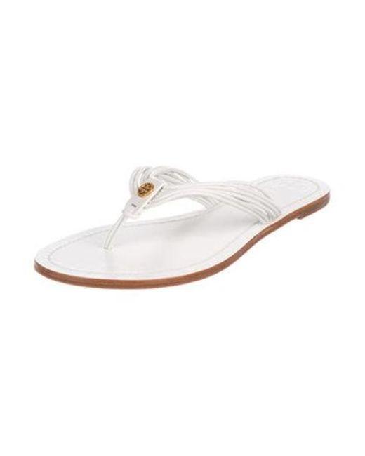 f6298da498cb ... Tory Burch - Metallic Leather Thong Sandals White - Lyst ...