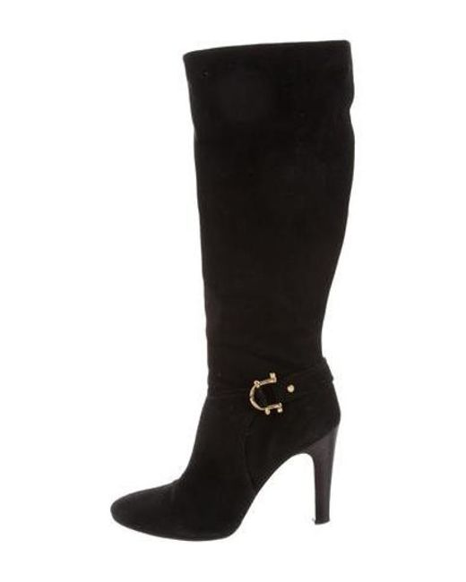 4e89bd1c0791 Tory Burch - Black Suede Knee-high Boots - Lyst ...