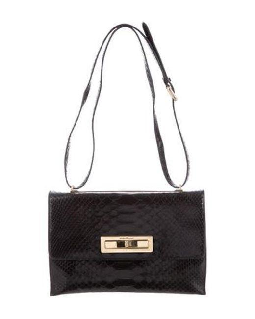 3a01fcf85ca9 Ferragamo - Metallic Snakeskin Shoulder Bag Black - Lyst ...