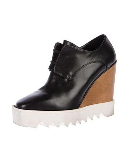 a45a7cf0a7a ... Stella McCartney - Black Vegan Leather Platform Wedges - Lyst ...