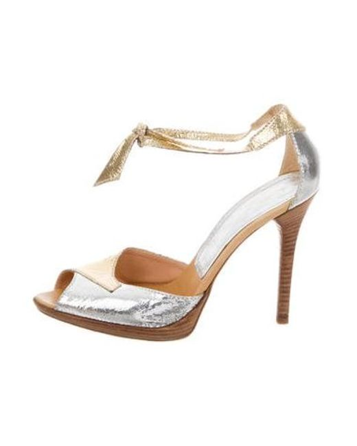 e3c630530f9 Casadei - Metallic Leather Sandals Silver - Lyst ...