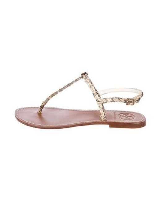 cece60c7d3e1 Tory Burch - Metallic Embossed Leather Sandals Tan - Lyst ...
