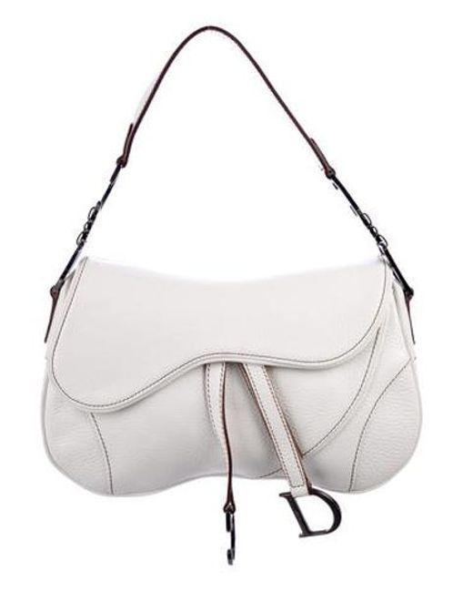 ebcbcb33c3fa Dior - Metallic Leather Double Saddle Bag White - Lyst ...