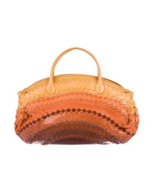 c7c39bd9f4 Lyst - Bottega Veneta Karung   Python Intrecciato Bag Orange in Yellow