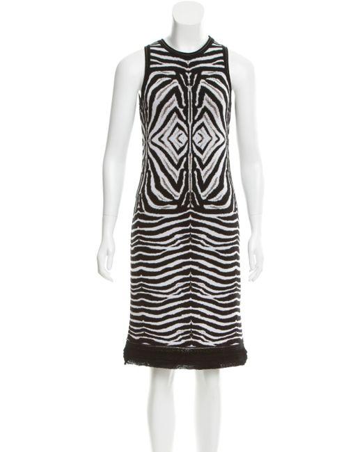 Roberto Cavalli | Metallic Knit Zebra Patterned Dress White | Lyst