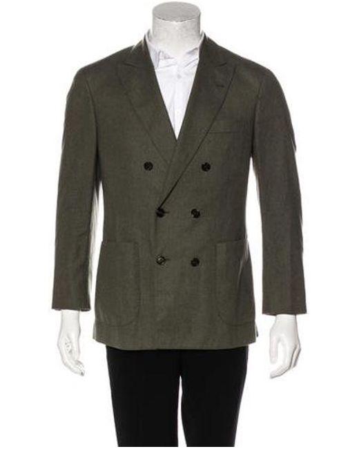 5fa5c8fc64e1 Brunello Cucinelli - Green Double-breasted Wool Blazer Olive for Men - Lyst  ...