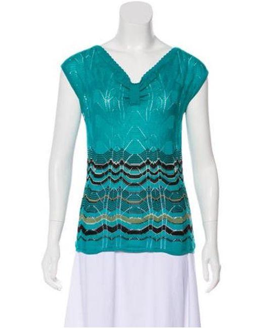 cc2256bb23 M Missoni - Blue Knit Chevron Sleeveless Sweater - Lyst ...