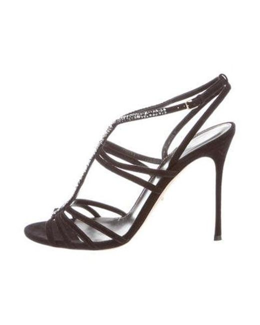 2fcb1f218e1f lyst – sergio rossi bess strass sandals black in metallic. Download Image  520 X 650