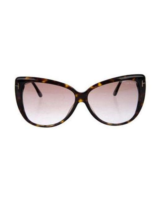 e13a8a3a7ad Tom Ford - Metallic Reveka Cat-eye Sunglasses Brown - Lyst ...
