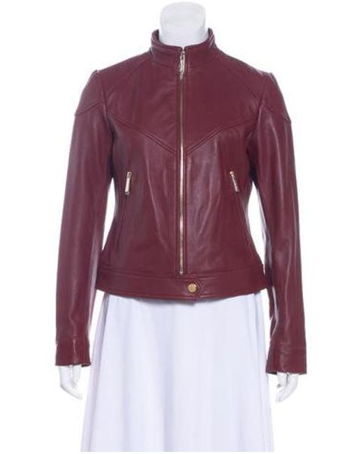 MICHAEL Michael Kors - Metallic Michael Kors Leather Zip-up Jacket W/ Tags Gold - Lyst