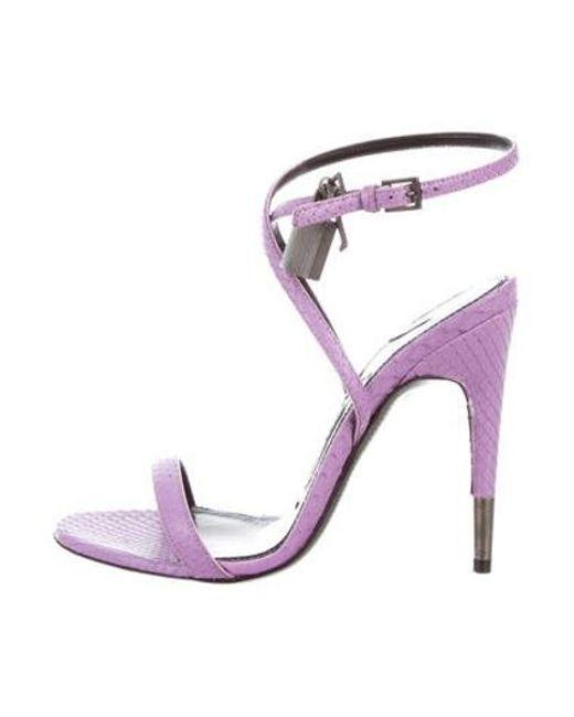 1e0a1b96e223 Tom Ford - Metallic Snakeskin Padlock Sandals Purple - Lyst ...