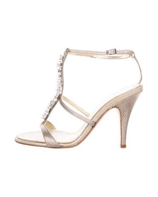 a16ff15ad8a7 Giuseppe Zanotti - Metallic Embellished T-strap Sandals Gold - Lyst ...