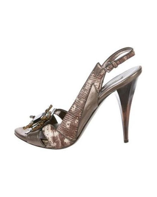 4f3afe3f1f Miu Miu - Metallic Miu Embellished Slingback Sandals Bronze - Lyst ...