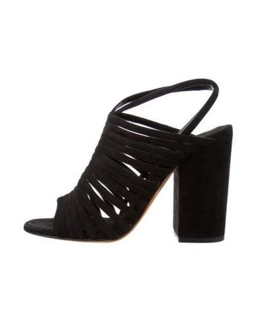 d913731a959 Alumnae - Black Suede Caged Sandals W  Tags - Lyst ...