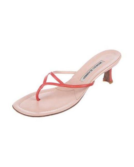 f8c49b505c7 ... Manolo Blahnik - Pink Leather Slide Sandals Coral - Lyst ...