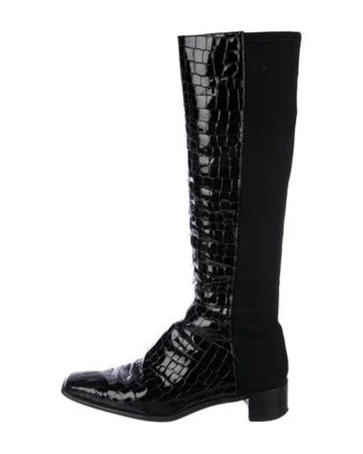 0a7b518b1ae Stuart Weitzman - Black Embossed Knee-high Boots - Lyst ...