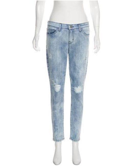 Current/Elliott - Blue Distressed Mid-rise Skinny Jeans - Lyst