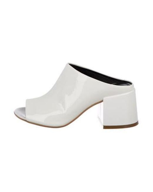 a32396fe5b82 MM6 by Maison Martin Margiela - White Patent Leather Low Heel Sandals - Lyst  ...