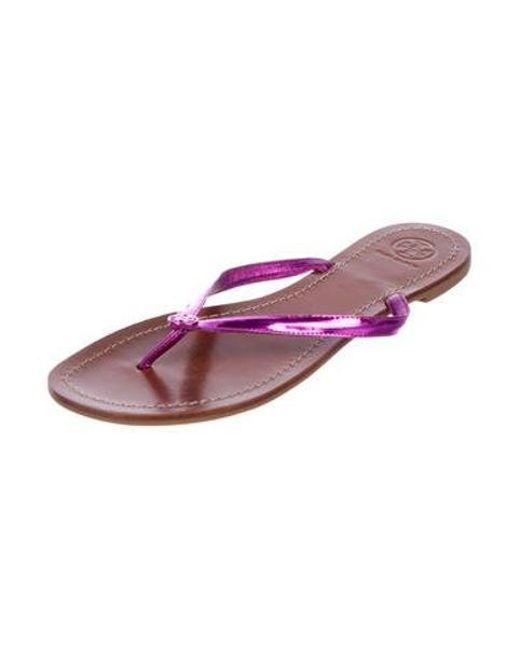 becfa711f ... Tory Burch - Purple Metallic Thong Sandals Violet - Lyst ...