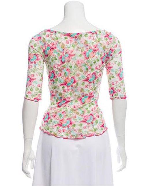 9595c88031aa2 ... Diane von Furstenberg - Silk Floral Top Multicolor - Lyst