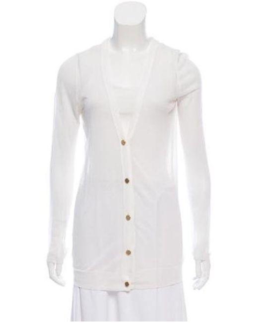 14d9040b8c43f MICHAEL Michael Kors - White Michael Kors Button-up Semisheer Cardigan -  Lyst ...
