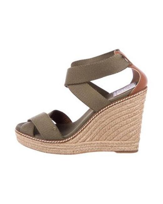 0aab9ead0564 Tory Burch - Green Crossover Espadrille Wedges - Lyst ...
