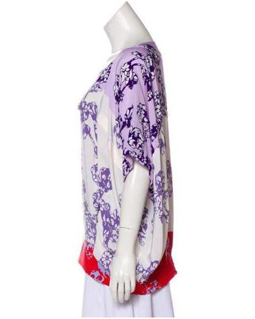 80f81f460ffa3 ... Diane von Furstenberg - Purple Landy Silk Colorblock Short Sleeve Top -  Lyst ...