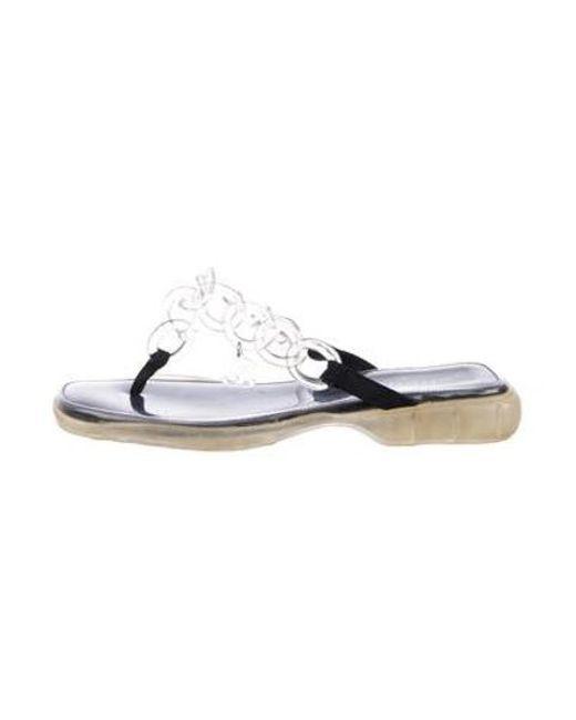 f36996670f9b Chanel - Black Chain Slide Sandals - Lyst ...
