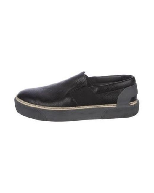 39884f173298 Lanvin - Gray Leather Slip-on Sneakers Black for Men - Lyst ...