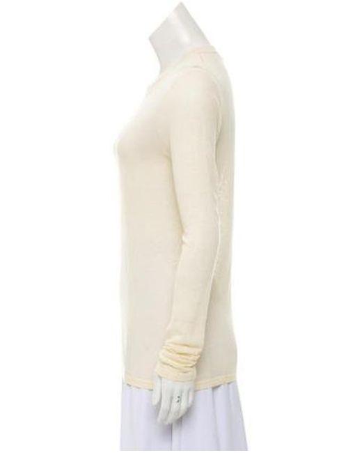 2e9b91bc0cda2 ... Michael Kors - Natural Long Sleeve Scoop Neckline Top Cream - Lyst ...