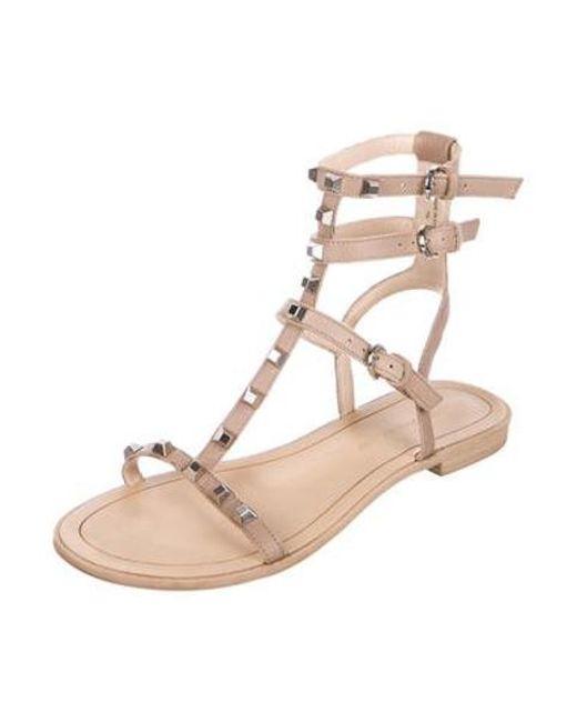 b1777931d489 ... Rebecca Minkoff - Natural Embellished Leather Sandals Nude - Lyst ...