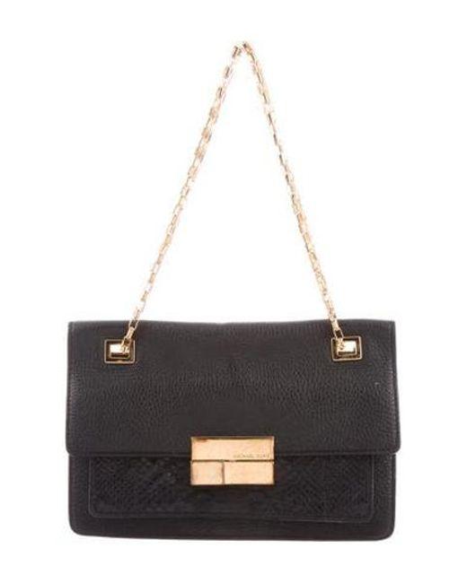 5c55edb28881 Michael Kors - Metallic Python-trimmed Shoulder Bag Black - Lyst ...