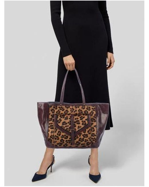 6bbad0367935 ... Tory Burch - Metallic Leather-trimmed Ponyhair Tote W  Tags Multicolor  - Lyst ...