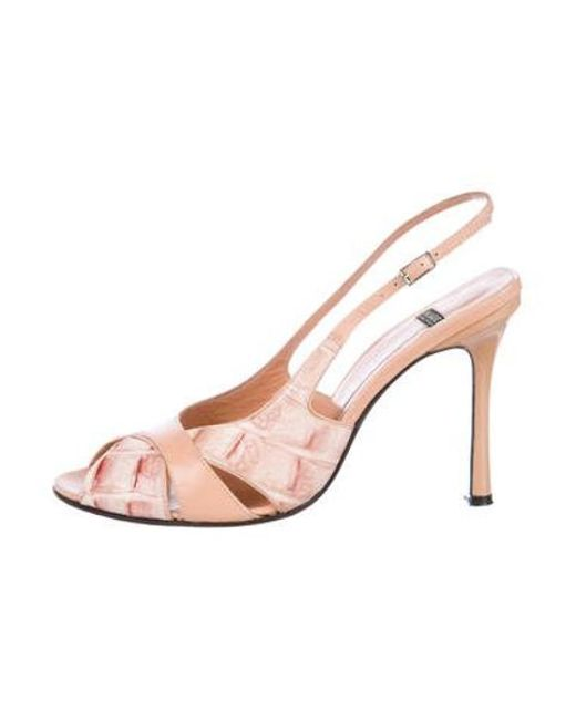 06eb190791c Casadei - Pink Leather Slingback Sandals - Lyst ...