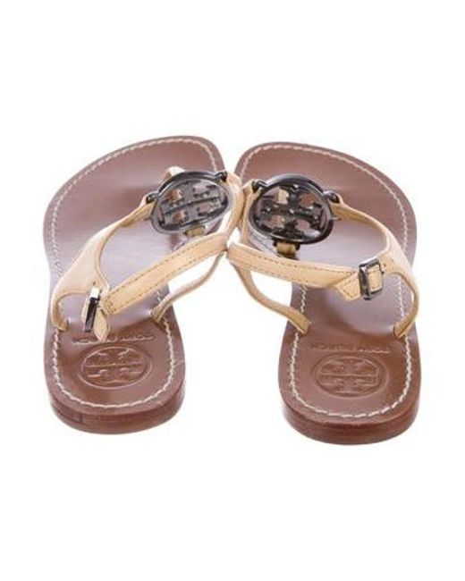 971399c3e99c29 ... Tory Burch - Natural Leather Logo Sandals Nude - Lyst
