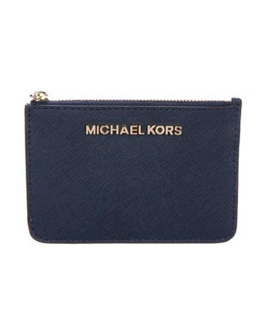 11ca03ce8b869 MICHAEL Michael Kors - Metallic Michael Kors Leather Card Holder Blue - Lyst  ...